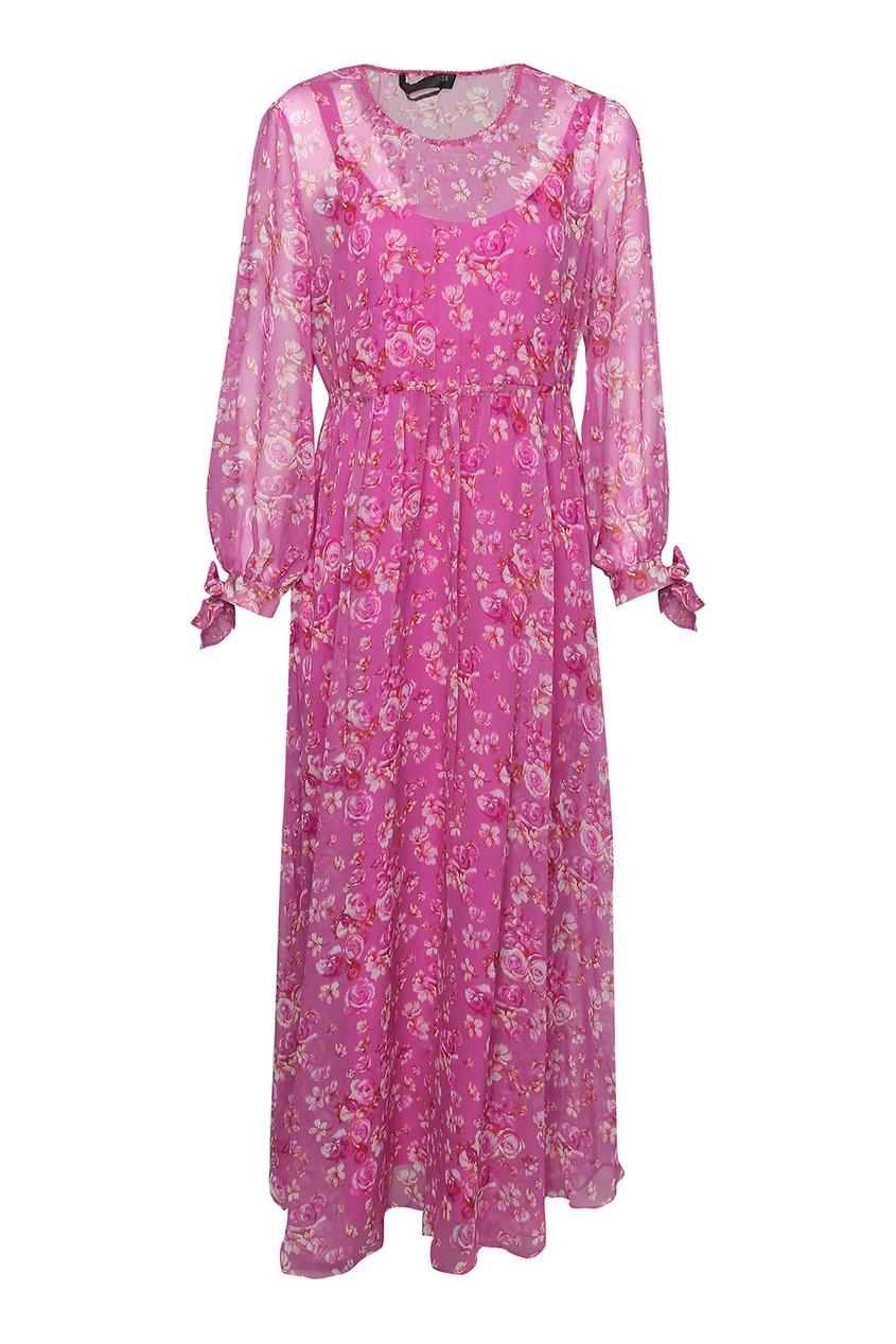 женское шелковые платье marina rinaldi, розовое
