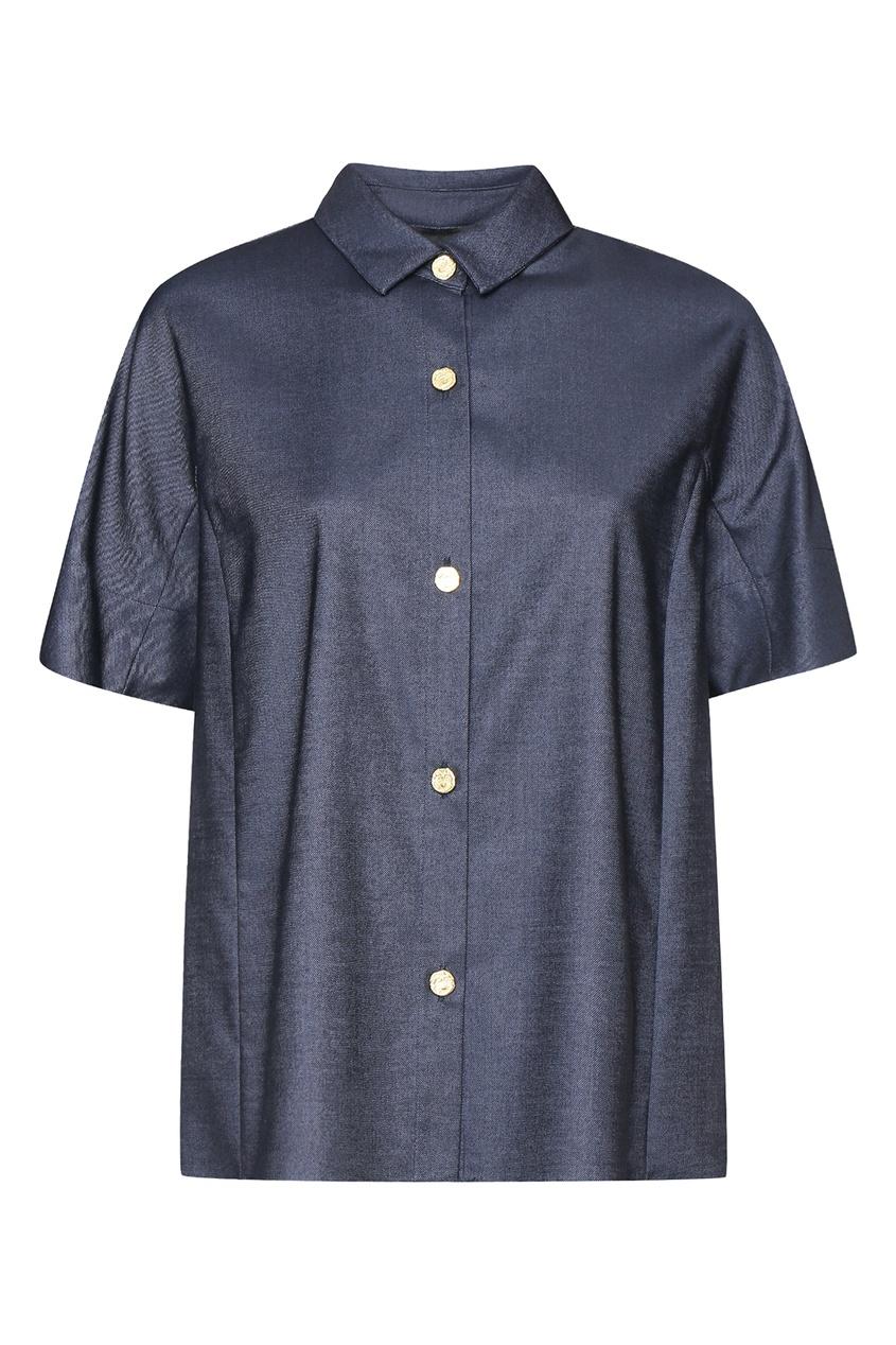 женская блузка marina rinaldi, синяя