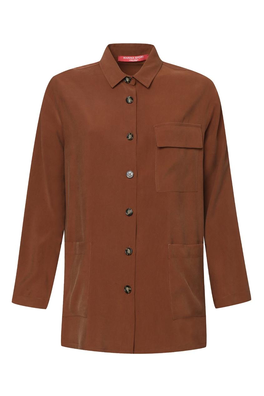 женская рубашка marina rinaldi, коричневая