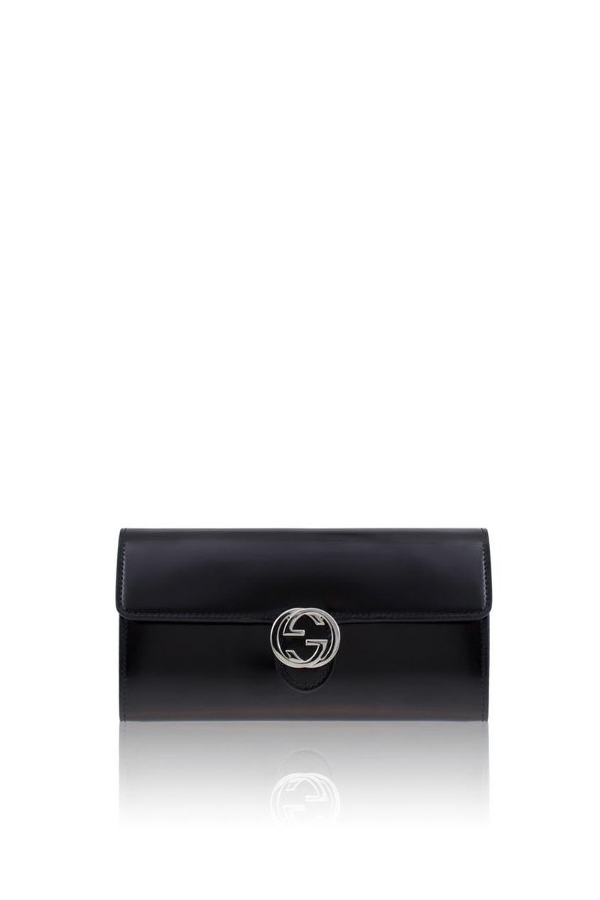 Фото 3 - Кошелек из глянцевой кожи от Gucci черного цвета