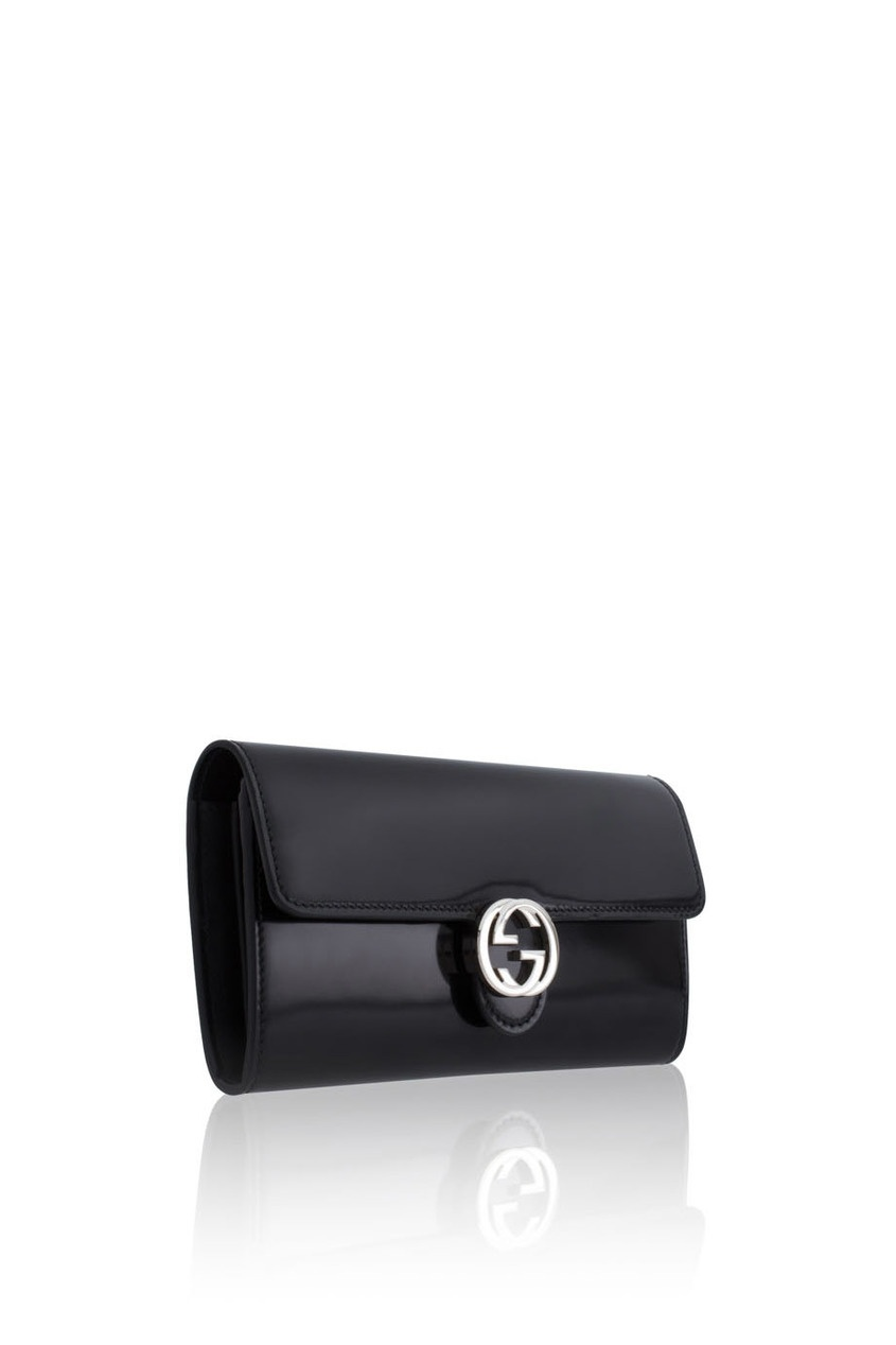 Фото 4 - Кошелек из глянцевой кожи от Gucci черного цвета