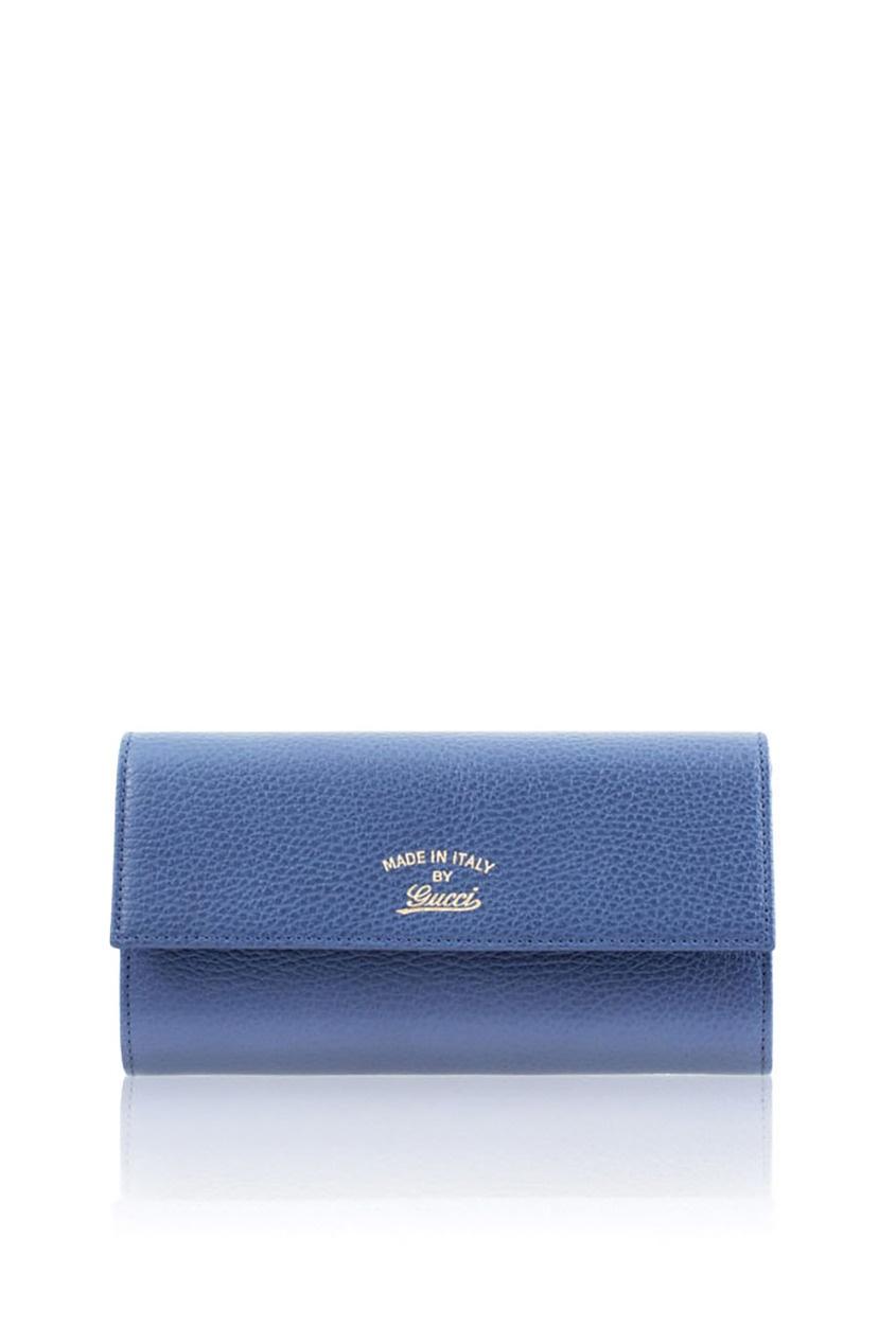 Фото 6 - Кожаный кошелек от Gucci синего цвета
