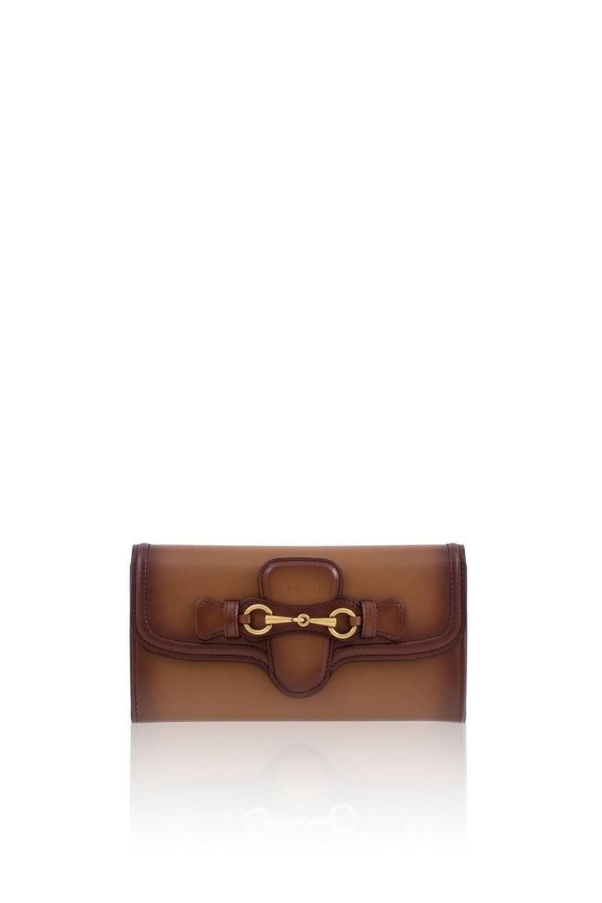 Фото 3 - Кожаный кошелек Lady Web от Gucci коричневого цвета
