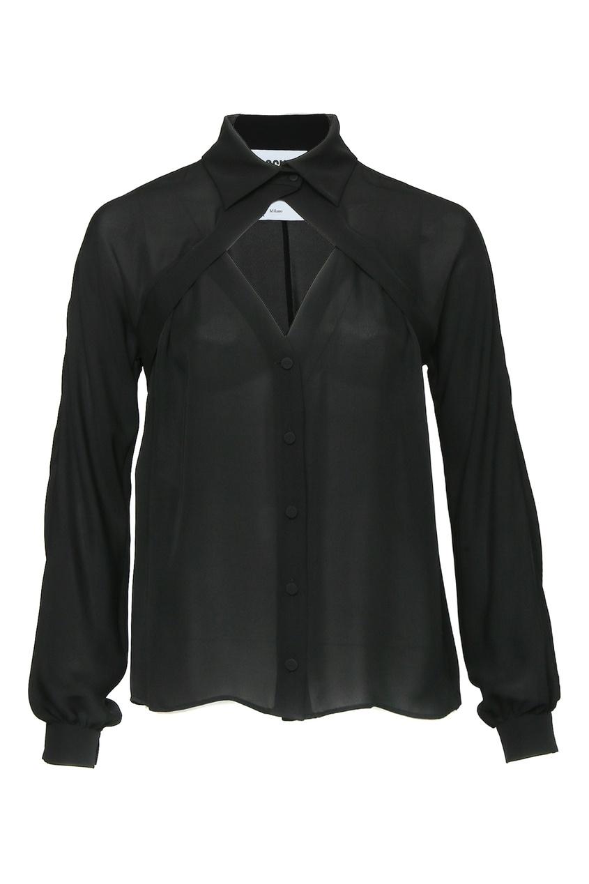 женская шелковые рубашка moschino, черная