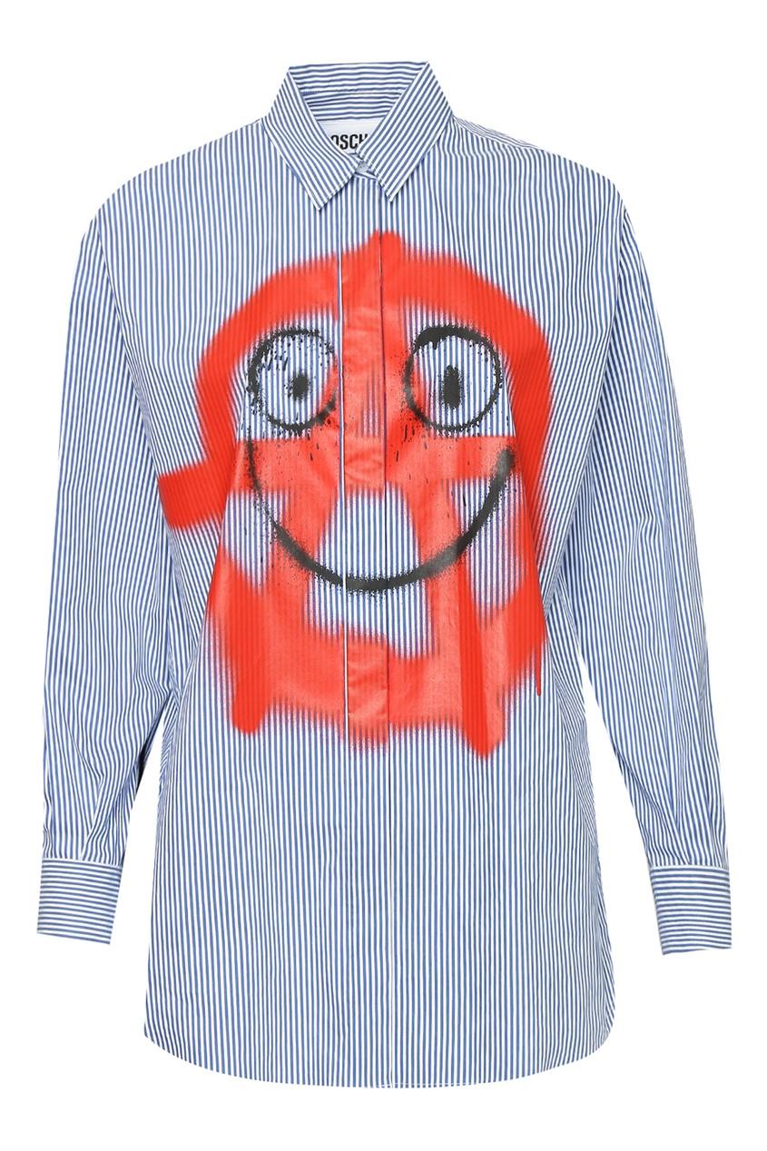 женская рубашка moschino, синяя