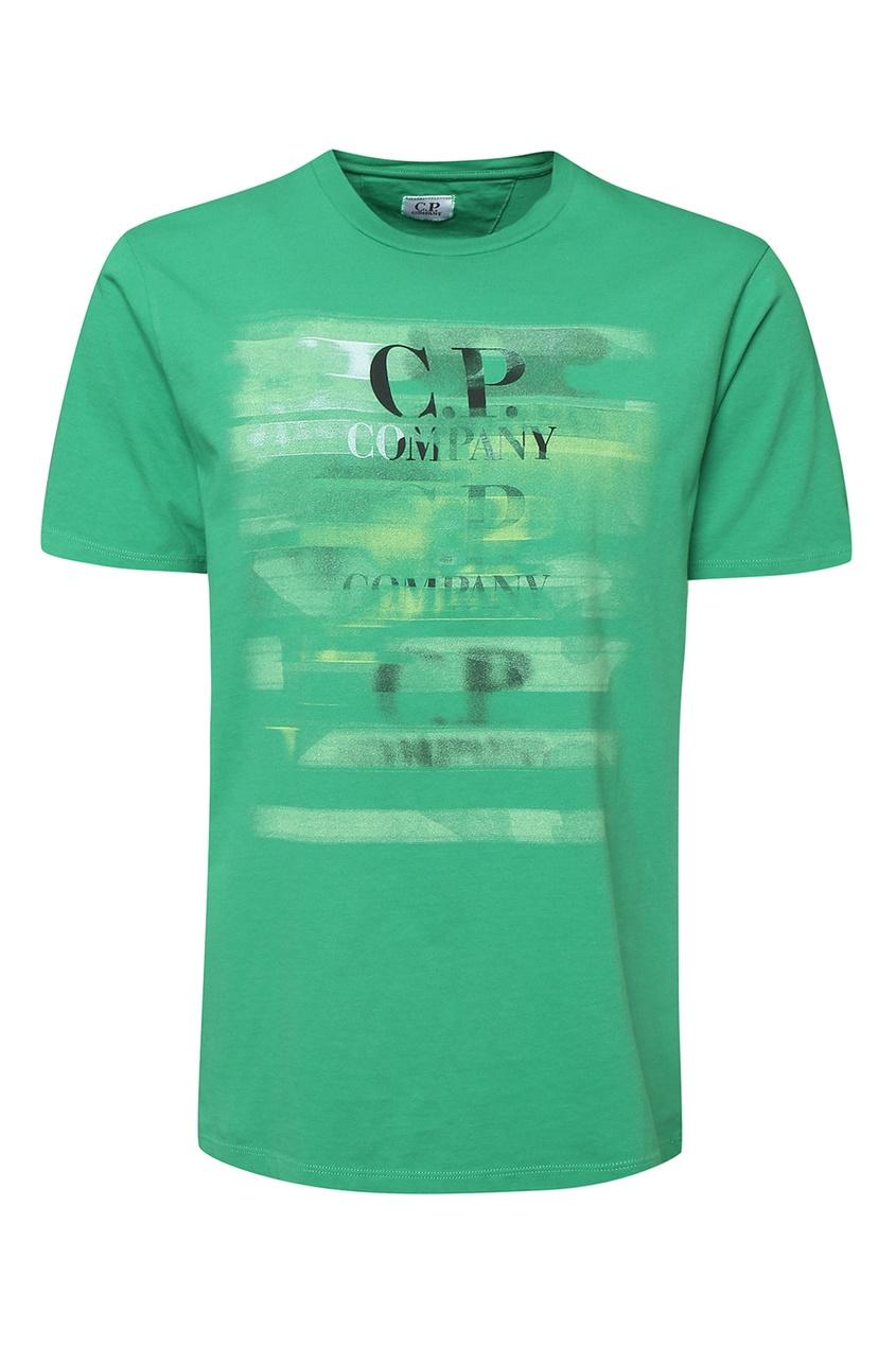 мужская футболка c.p. company, зеленая