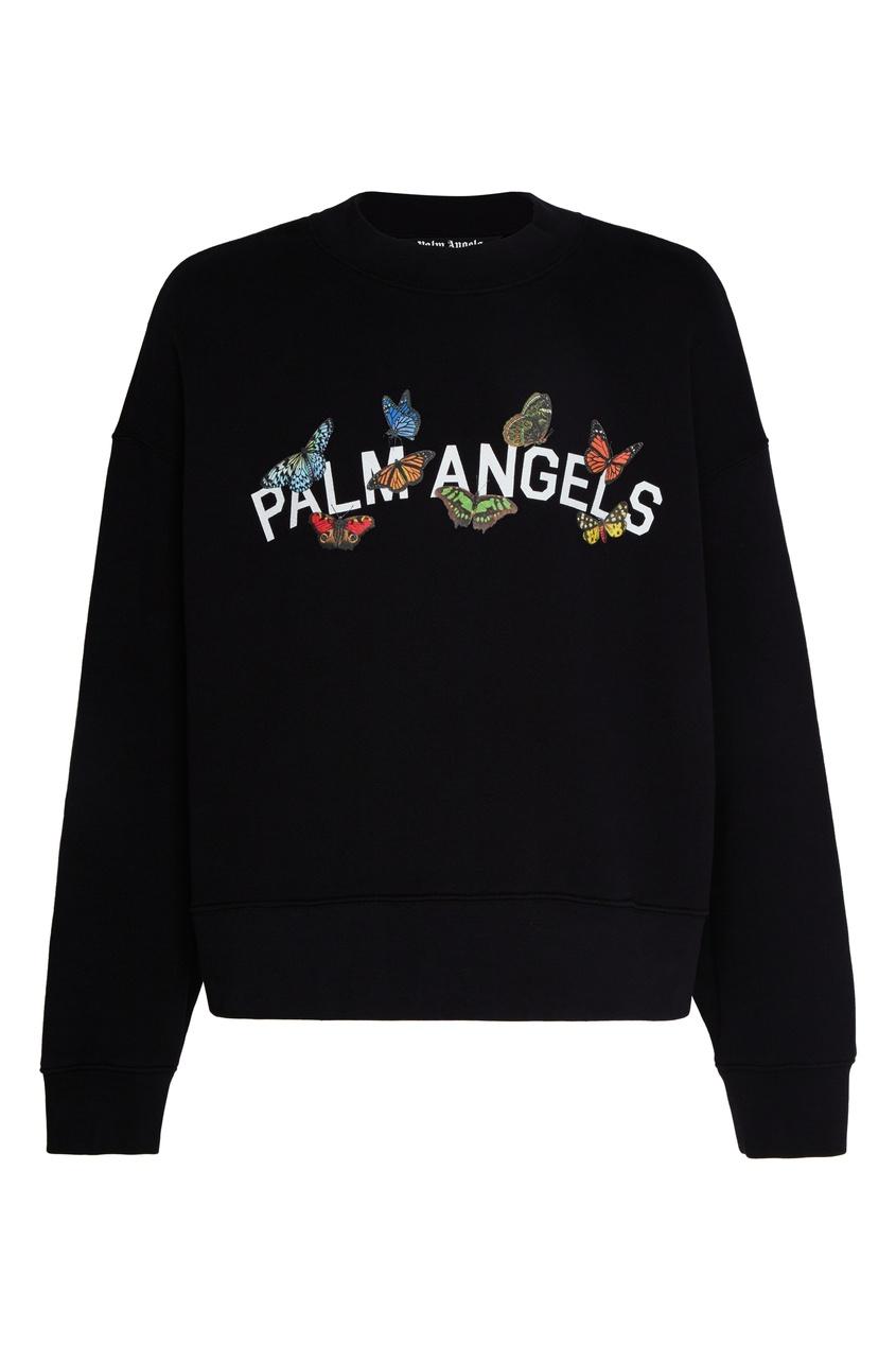 Свитшот с логотипом и бабочками от Palm Angels