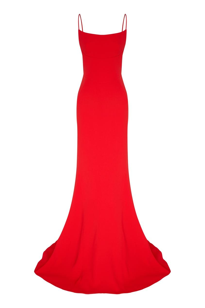 Красное вечернее платье на бретелях