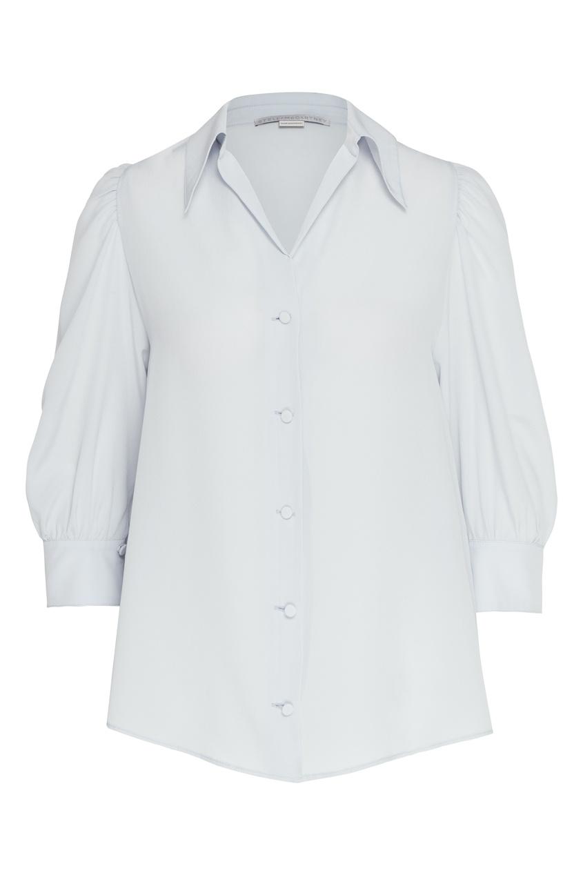 женская шелковые блузка stella mccartney, голубая