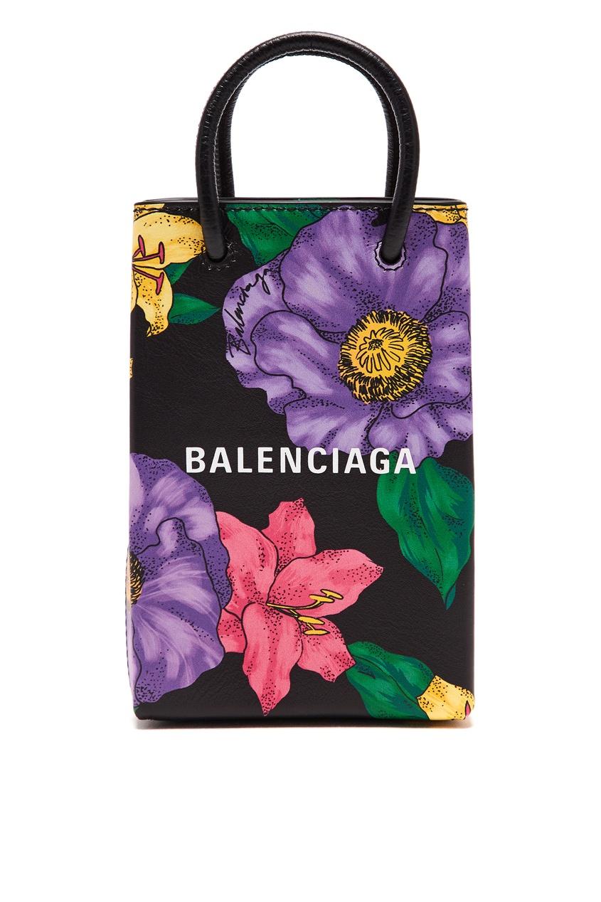 Кожаная мини-сумка с цветочным принтом от Gucci