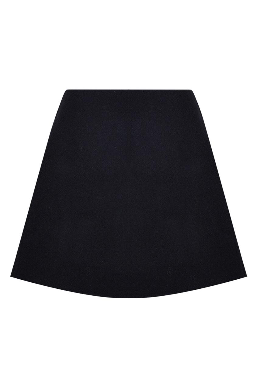 Однотонная юбка-трапеция