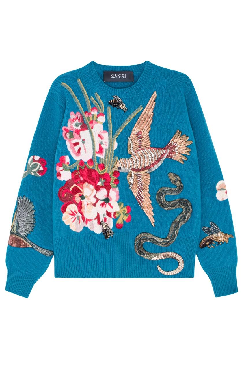 Шерстяной свитер с вышивкой