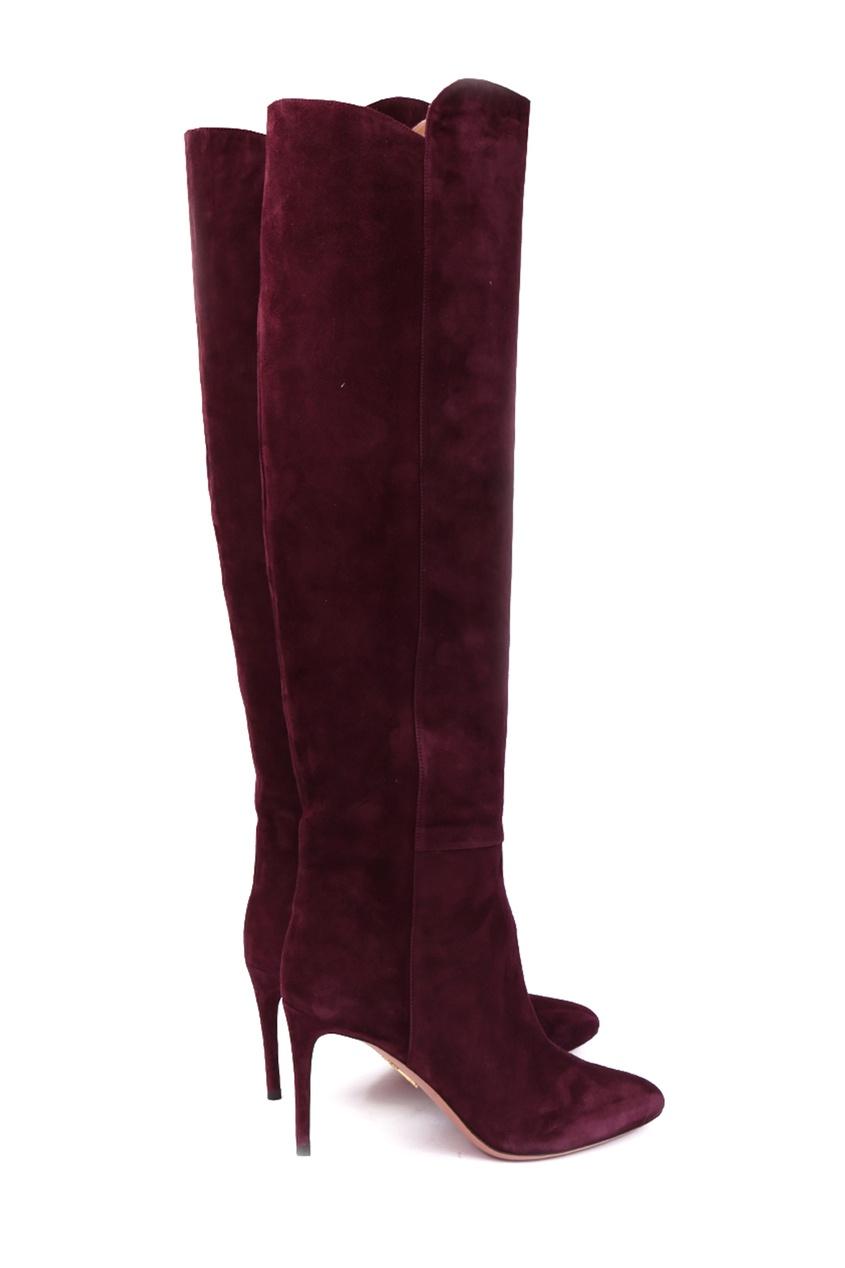 Бордовые замшевые сапоги Gainsbourg 85 Aquazzura mulberry 975192525