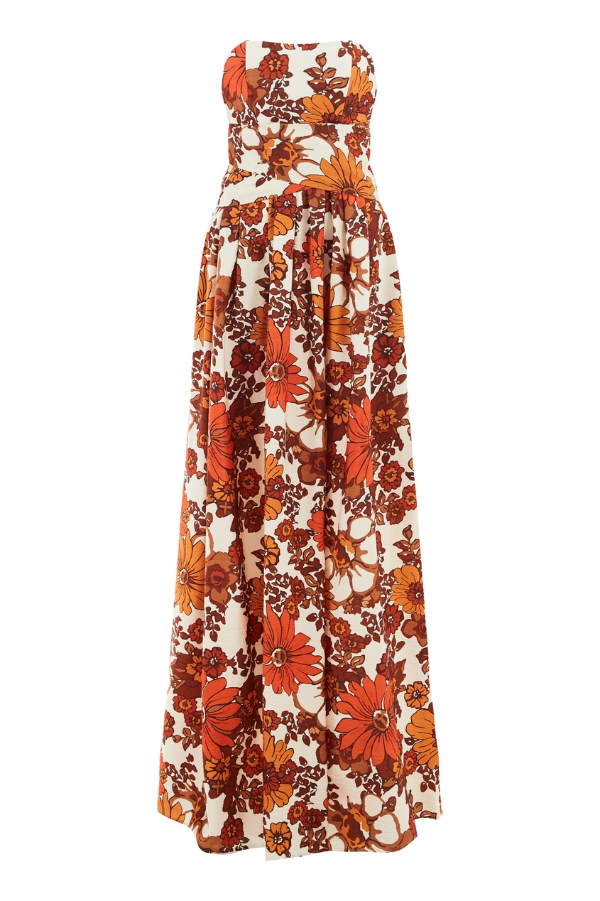 Платье бандо с цветочным принтом