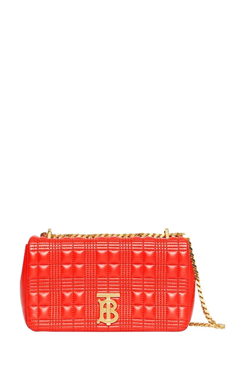 Красная сумка с фактурной отделкой