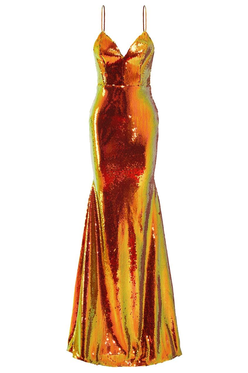Вечернее платье с пайетками Alex Perry 3168193135 оранжевый фото
