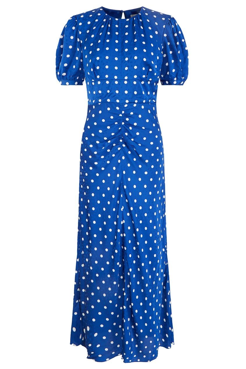 Синее платье в белый горох