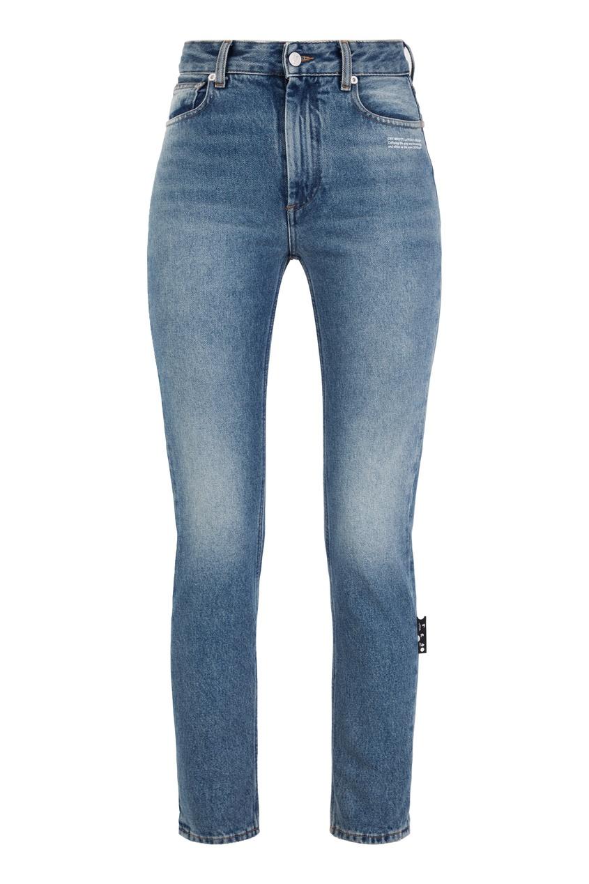 Синие укороченные джинсы скинни