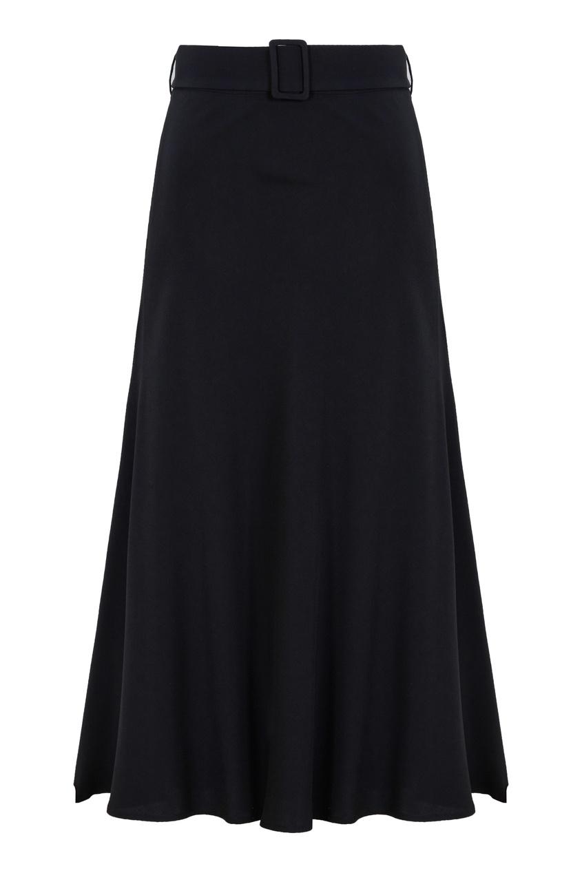 Черная юбка миди с поясом