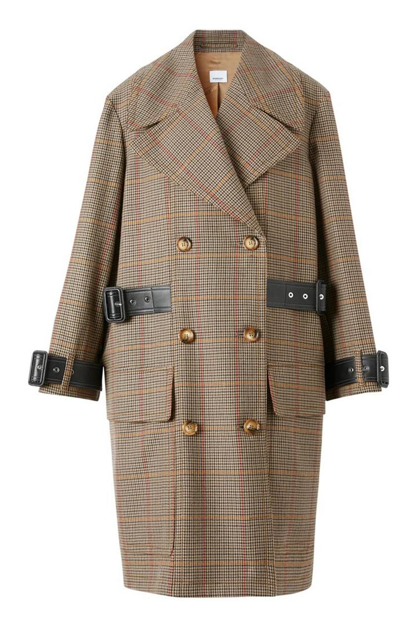 Двубортное шерстяное пальто с кожаной отделкой