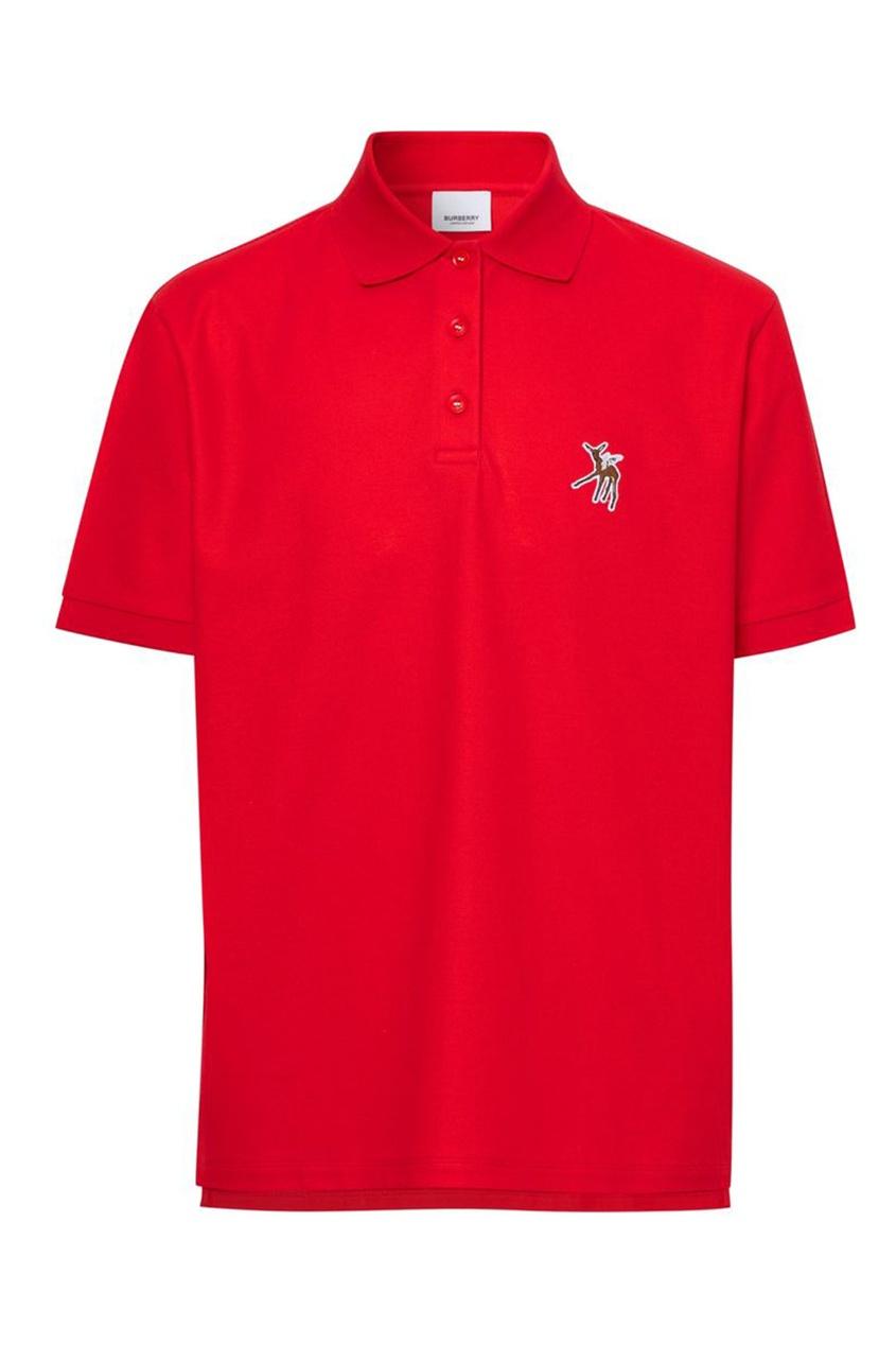 Красное поло с вышитым олененком Burberry красного цвета
