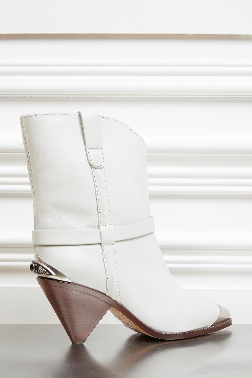 Белые кожаные сапоги с декором Isabel Marant Chalk 140193848