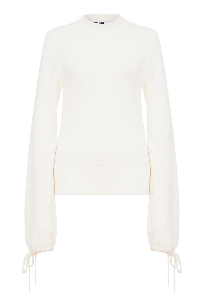 Шерстяной свитер с объемными рукавами
