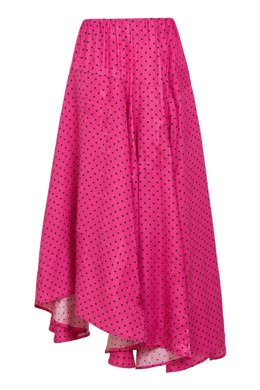 Розовая юбка в черный горох