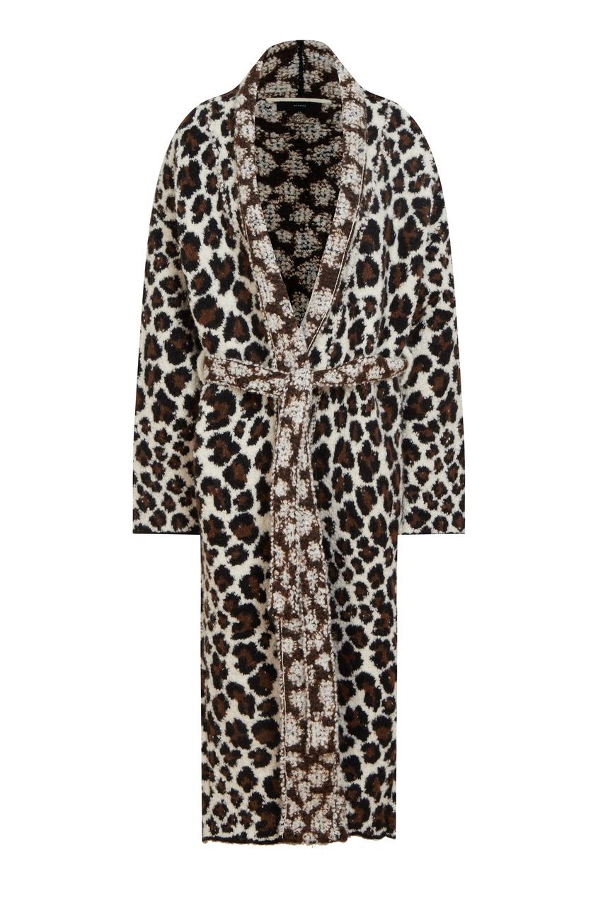 Шерстяное пальто с леопардовым узором