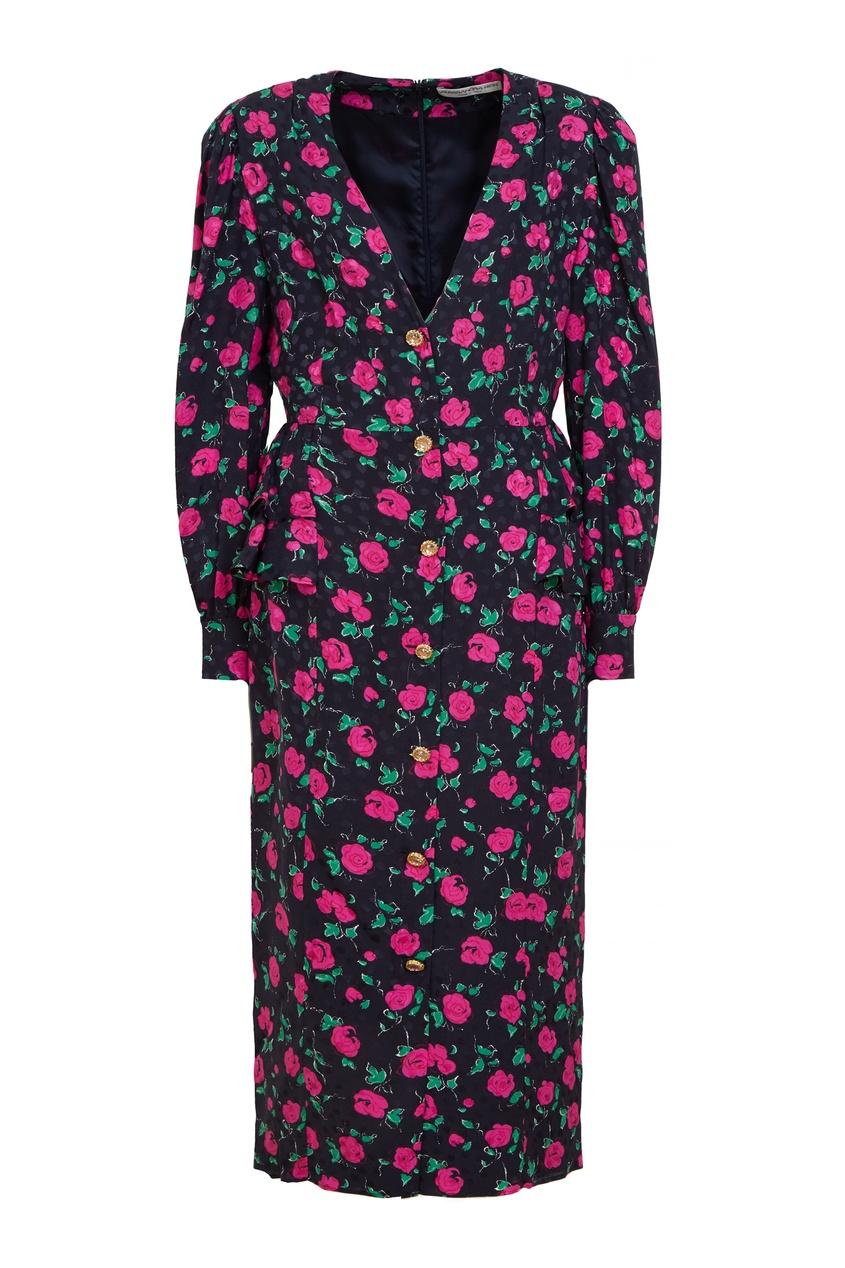 Шелковое платье с цветочным принтом