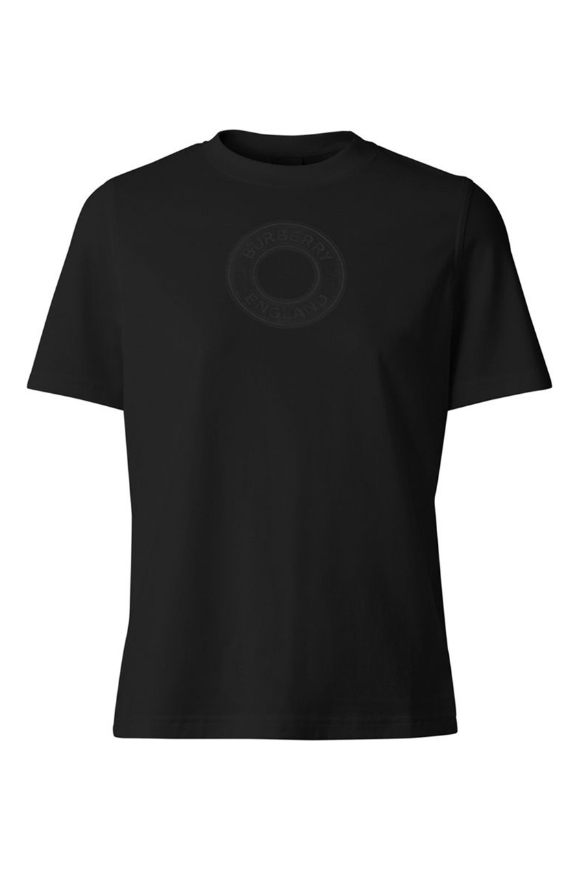 Футболка из черного хлопка с логотипом Burberry черного цвета