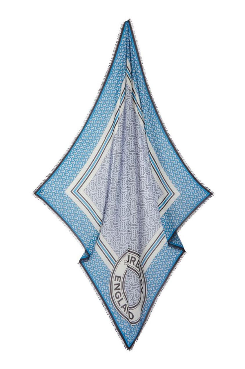 Платок из шерсти и шелка с монограммами