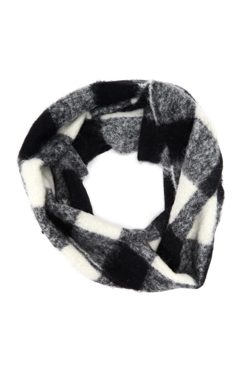 Клетчатый шарф из комбинированной шерсти