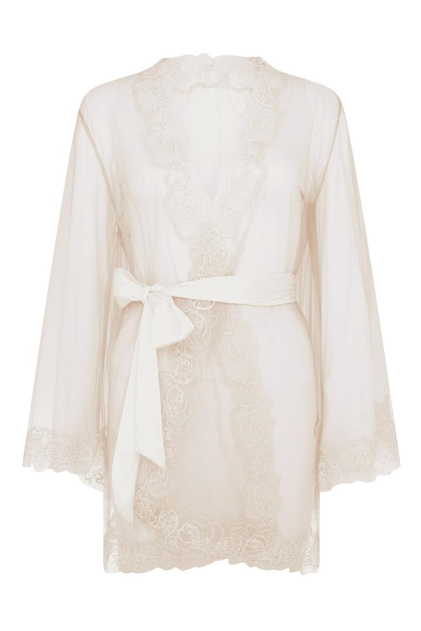 Прозрачный халат-кимоно с вышивкой цвета слоновой кости Lindie