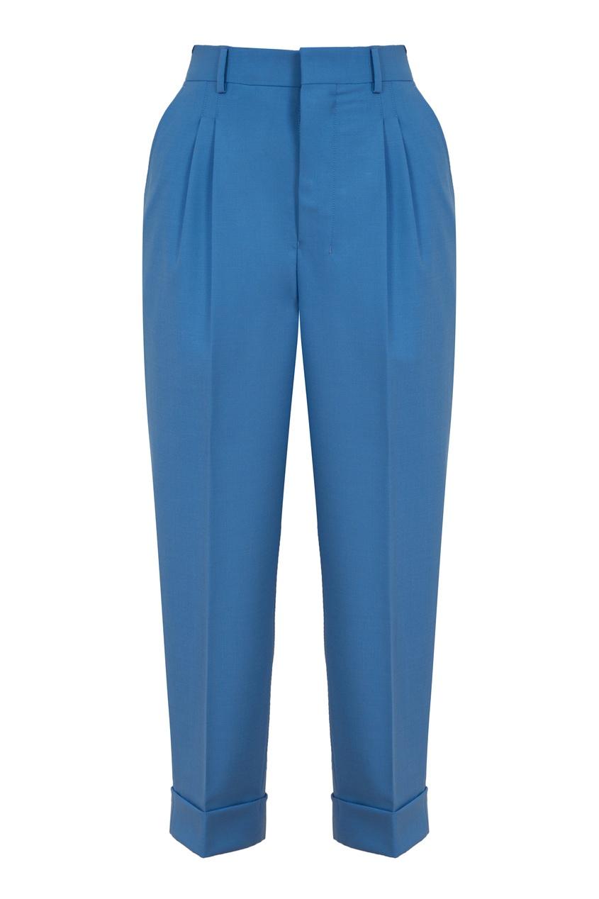 Голубые укороченные брюки