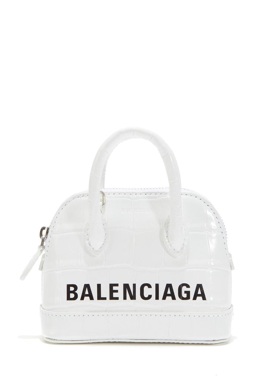 Белая кожаная сумка с логотипом Ville Top Handle