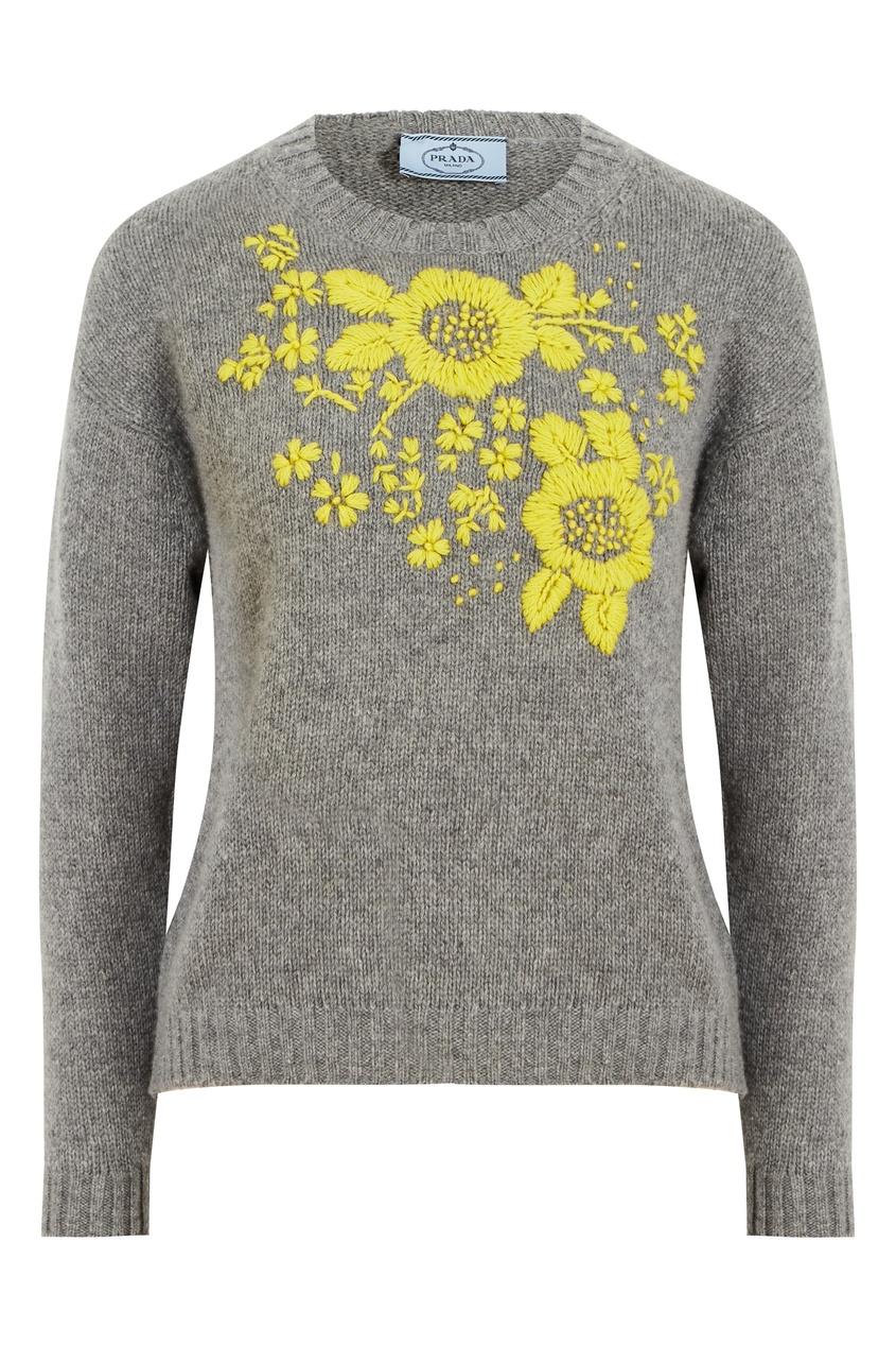 Серый свитер из шерсти и кашемира с вышивкой