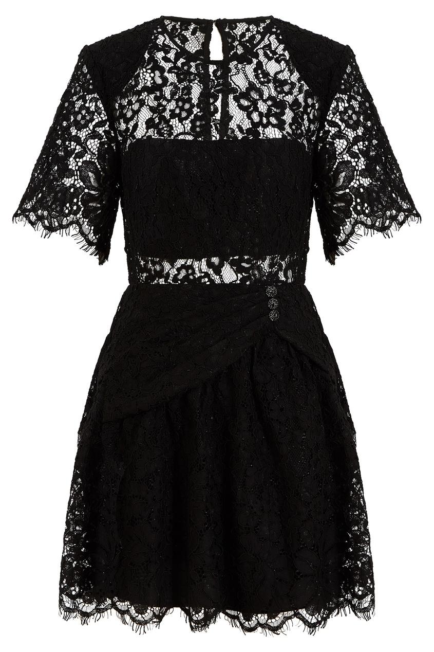 Черное кружевное платье-мини