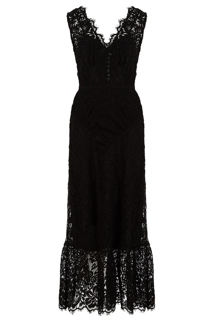 Черное кружевное платье без рукавов