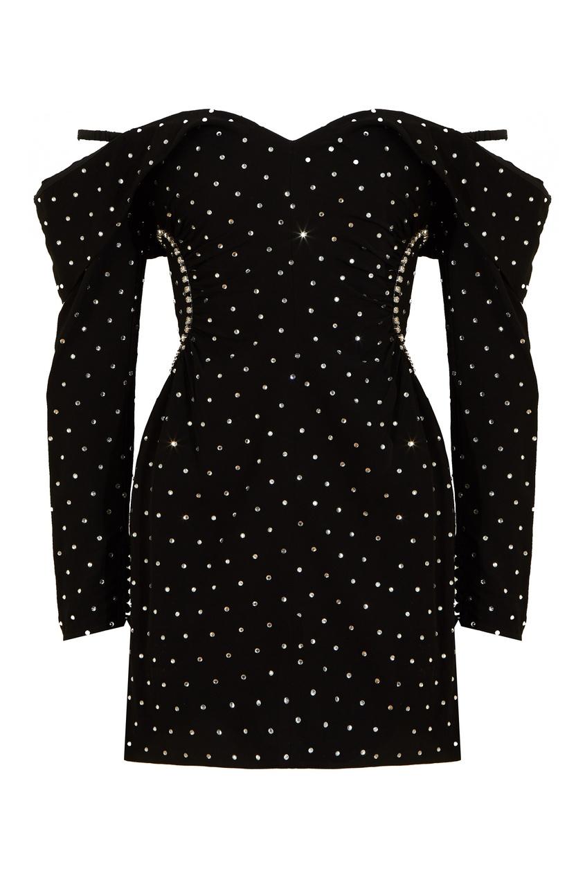 Черное платье-мини с отделкой кристаллами