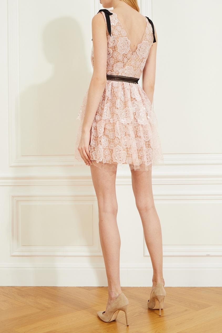 Светло-розовое кружевное платье без рукавов Self-Portrait 532196147 фото 3