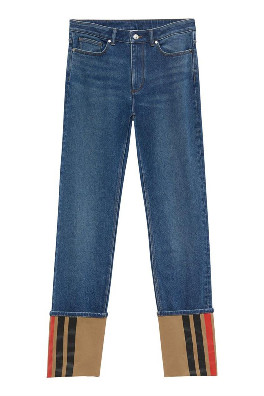 Прямые джинсы с полосатой отделкой
