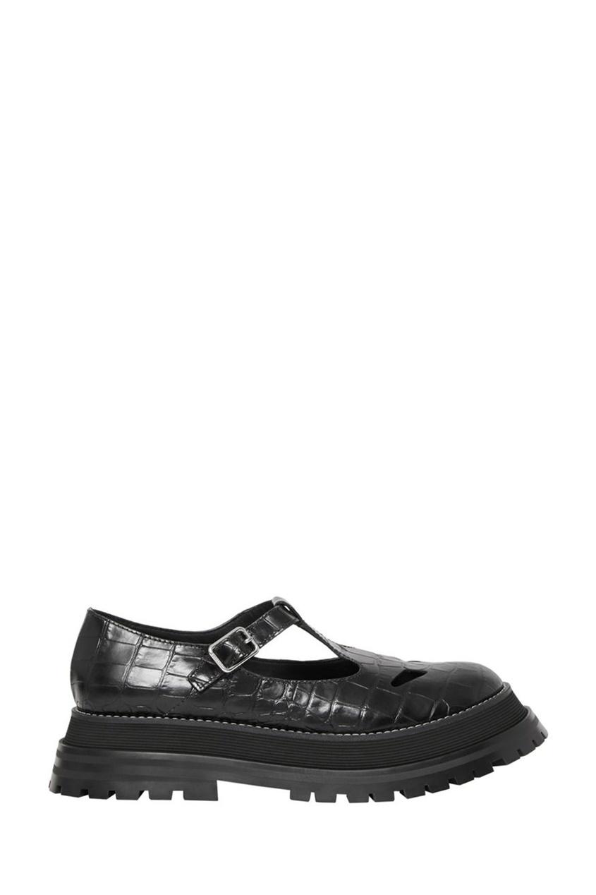 Черные туфли с Т-образной застежкой