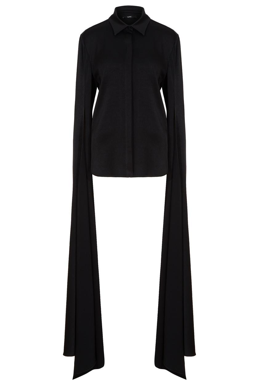 Черная блузка с удлиненными рукавами