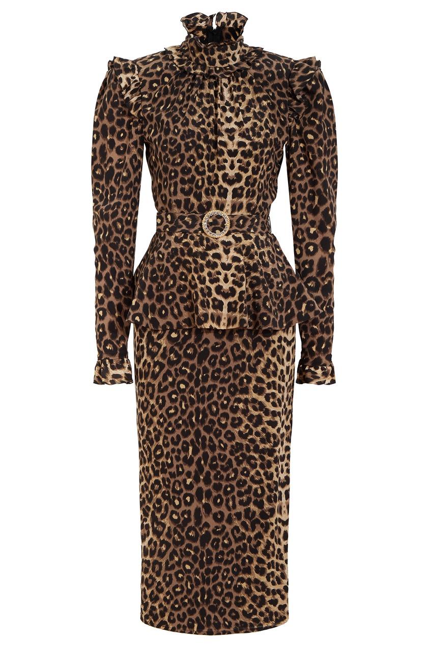 Платье из шелка с леопардовым принтом