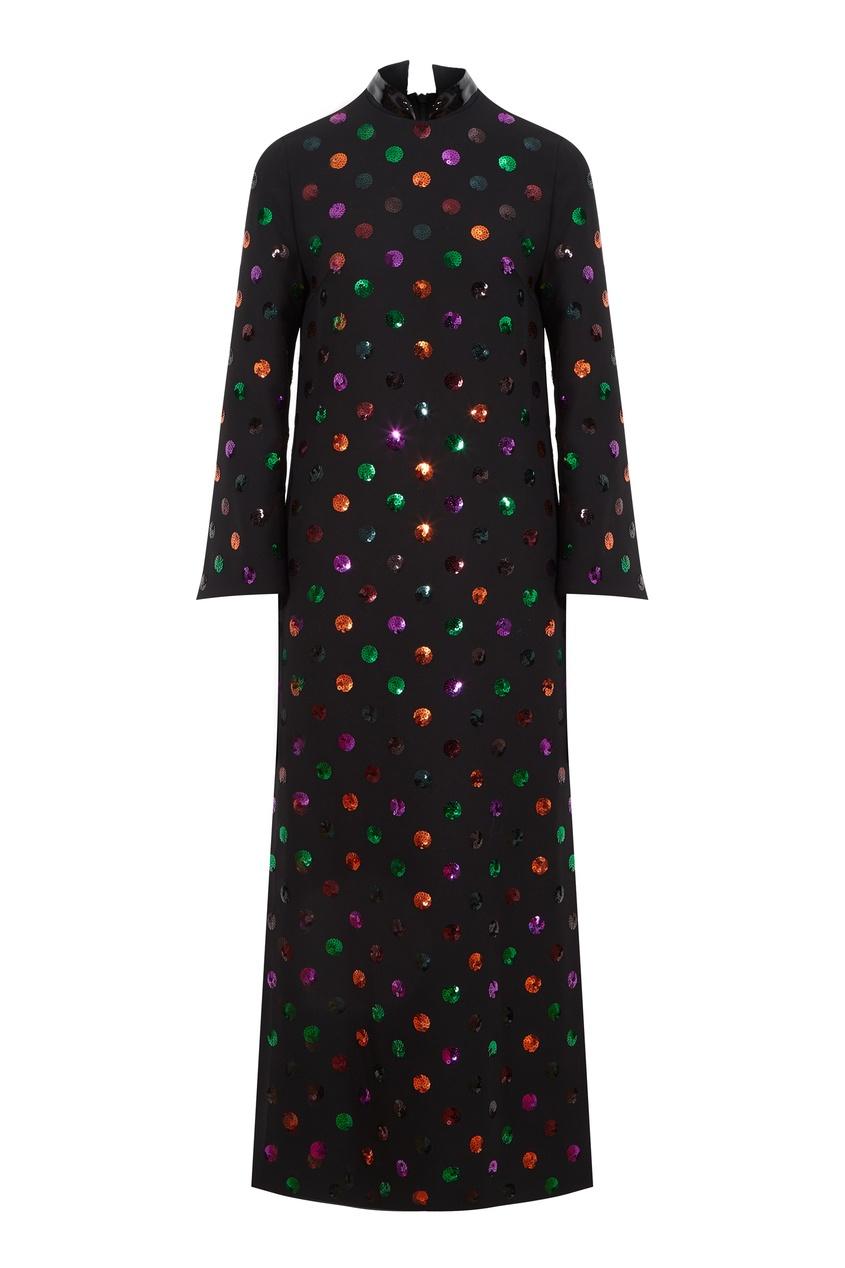 Черное платье из шерсти и шелка