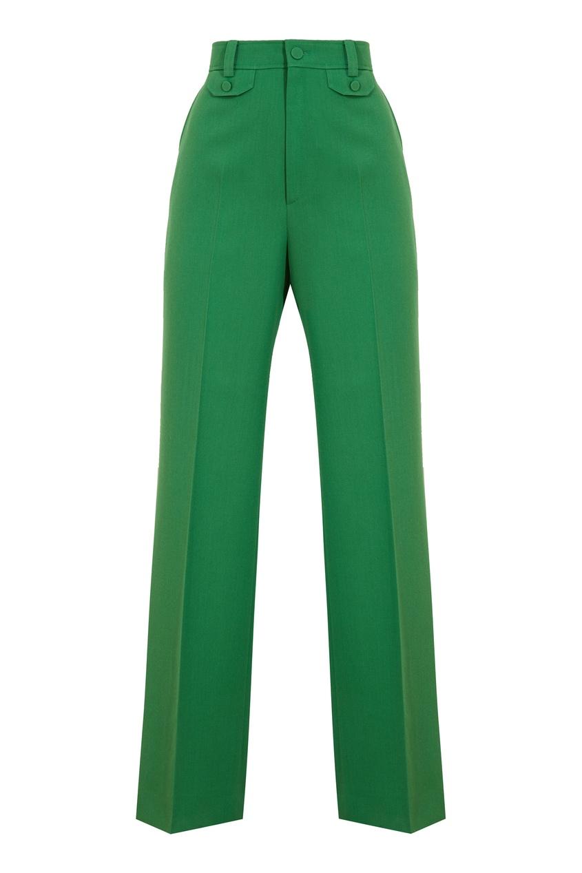 Зеленые брюки-клеш
