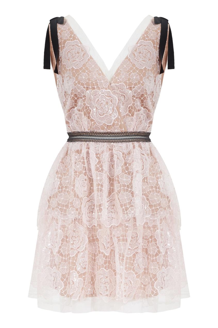 Светло-розовое кружевное платье без рукавов Self-Portrait 532196147 фото