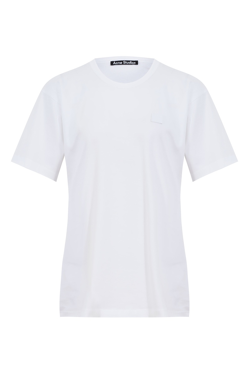 Белая хлопковая футболка Acne Studios цвет optic white