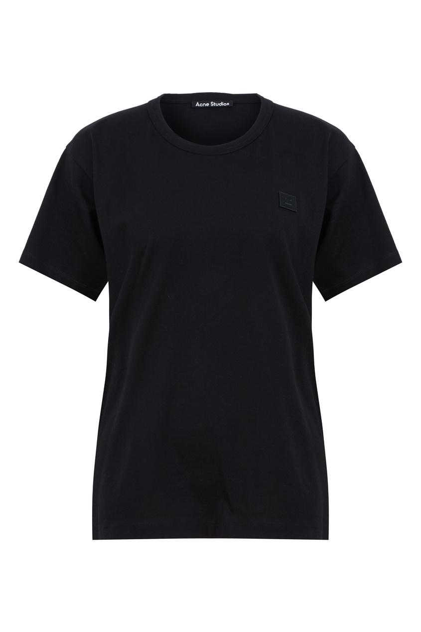 Черная хлопковая футболка Acne Studios черного цвета